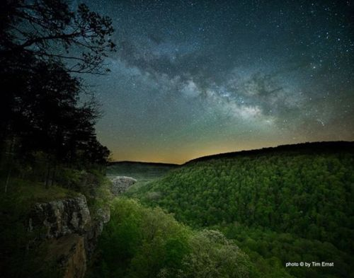 Photo © by Tim Ernst. Early Spring with Hawksbill Crag and The Milky Way, Ozark National Forest, Arkansas.