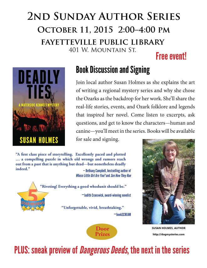 Susan Holmes Book Discussion-Signing 10-11-15