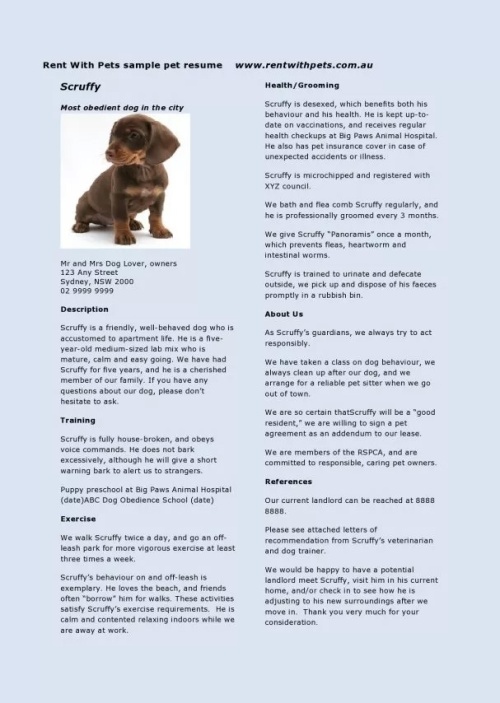 Rent With Pets Dog Resume